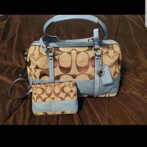 Blue & brown Coach purse and wristlet set